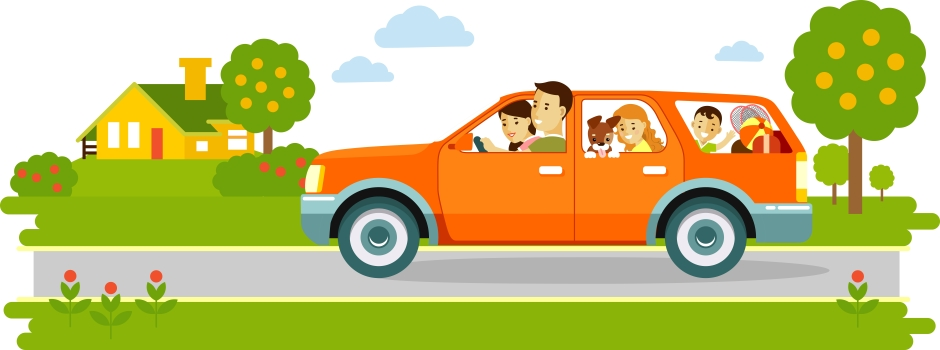Happy family traveling by car on natur background